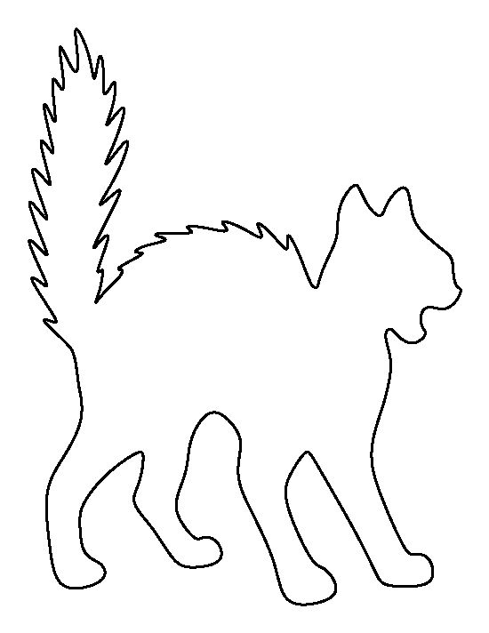 Scary cat pattern. Use the printable outline for crafts, creating stencils, scrapbooking, and more. Free PDF template to download and print at http://patternuniverse.com/download/scary-cat-pattern/
