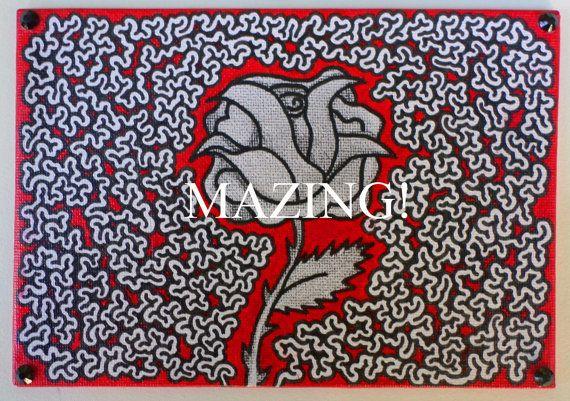 Maze Art  Art You Can Follow on 5x7 Canvas by TwistedFingerDesigns