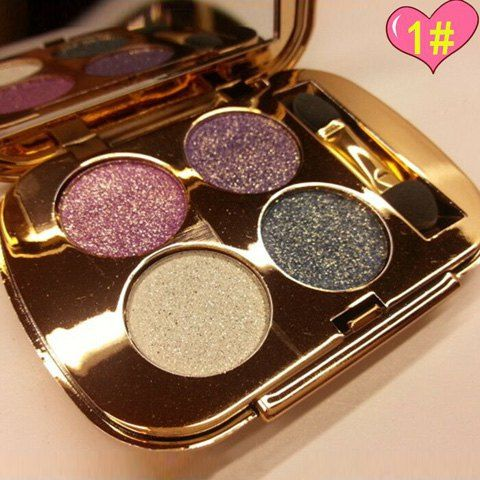 Professional 4 Colours Smokey Eye Sparkly Diamond Eye Shadow Palette with Mirror and Brush