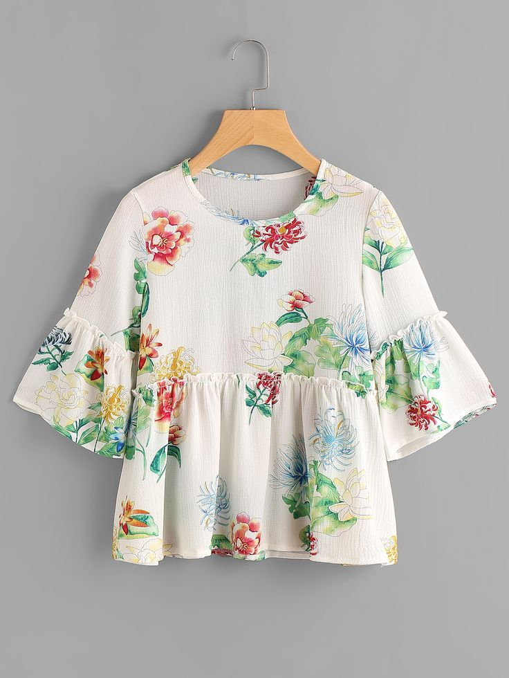 Shop Frill Trim Bell Sleeve Florals Smock Blouse online. SheIn offers Frill Trim Bell Sleeve Florals Smock Blouse & more to fit your fashionable needs.