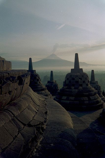 View of Mt. Merapi from Borobudur temple