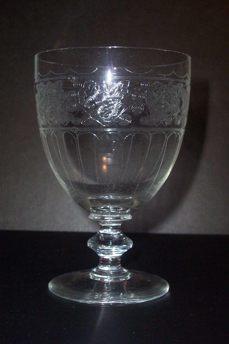 Edwardian etched crystal goblet