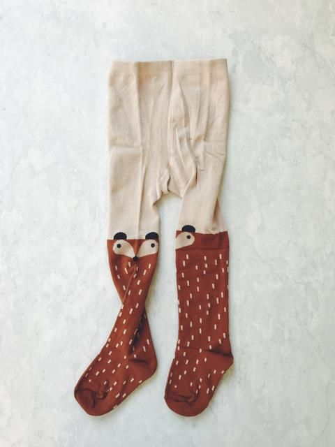 CHARACTER STOCKINGS / TIGHTS - 'BROWN FOX'    #MamaFashionMe - Aussie Online Store with Beautiful Accessories for Girls + Some for Boys