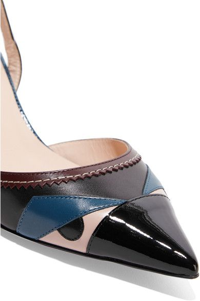 Fendi - Bag Bug Appliquéd Leather Pumps - Black - IT36.5