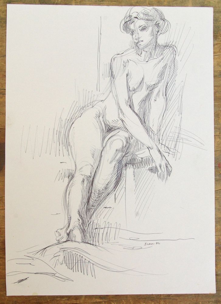 Original Realism Nude Woman Figure Sketch Life Drawing by Miriam Slater Signed #Realism