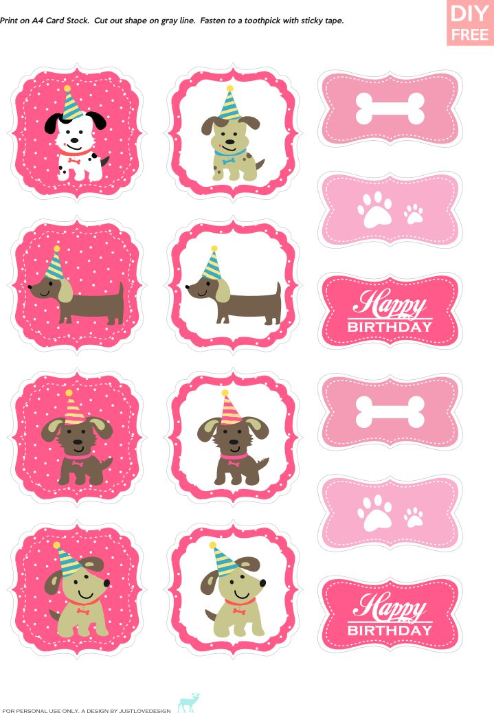 DIY Free Doggy Party Pink CupCake Toppers - JustLoveDesign