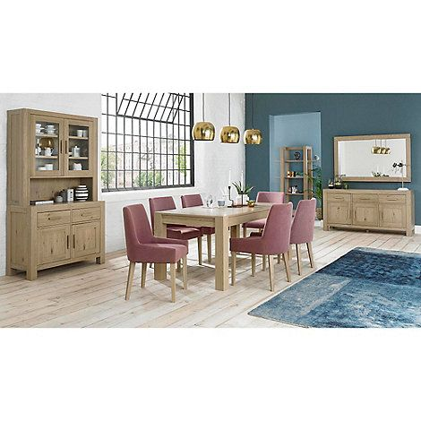 Debenhams Oak Turin Large Extending Table And 6 Purple Scoop Back Chairs