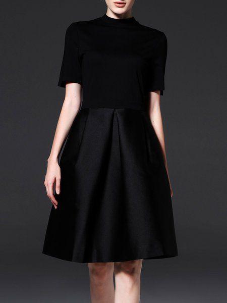 Black Elegant Short Sleeve A-line Midi Dress - StyleWe.com