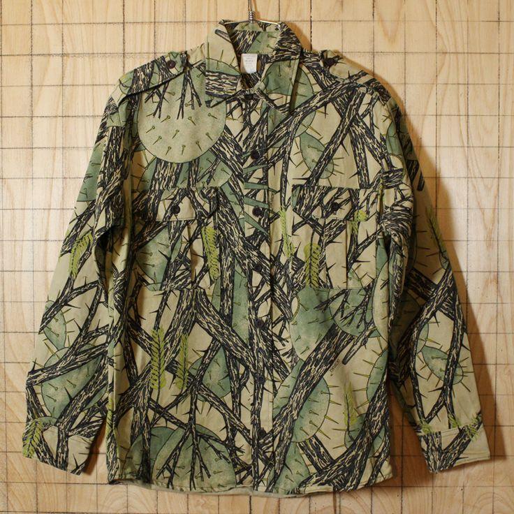【CACTU FLAGE】USA製古着サボテン総柄迷彩カモフラコットンシャツ・ヘビーネルシャツ|メンズS|ハンティング