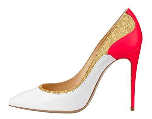 MONICOCO Übergröße Süßigkeit Farben Damenschuhe Spitze Zehen Geschlossene Toe Patchwork Pumps mit Stiletto Absatz Weiß 44 EU - http://on-line-kaufen.de/monicoco/44-eu-monicoco-bergroesse-suessigkeit-farben-toe-7
