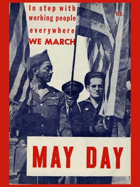 """""""More than 80 countries across the world are celebrating May Day today... The day holds a slightly different meaning for many, depending on the decade, the country, and the political group in power, but carries the same empowering, unified spirit..."""" Here is a special vintage May Day poster and I guess it is a special one as it shows an African-American and a white soldier marching side by side at a time when the racial tension was high.Image credit:New York Collection,NYU Tamiment Library…"""