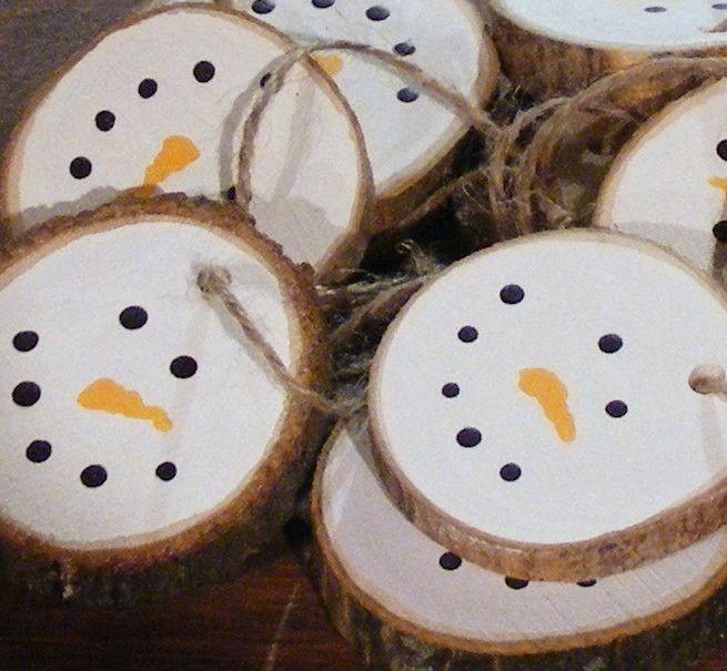Wood Christmas Ornaments - Log Slice Snowman – GFT Woodcraft