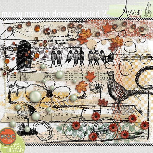 Messy Marvin Deconstructed vol. 2 by Amy Wolff @ TLP, love the many painted and stitched elements and the autumn color sheme, looks so artistic and I think would be also great to make some cards