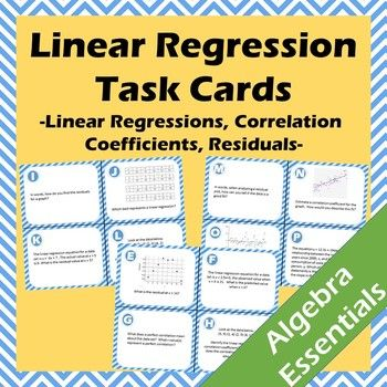 A set of 20 task cards focusing on all aspects of linear regressions. To complete the task cards students will use knowledge of linear regressions (line of best fit, least squares regression), correlation coefficients, and calculating residuals and their...
