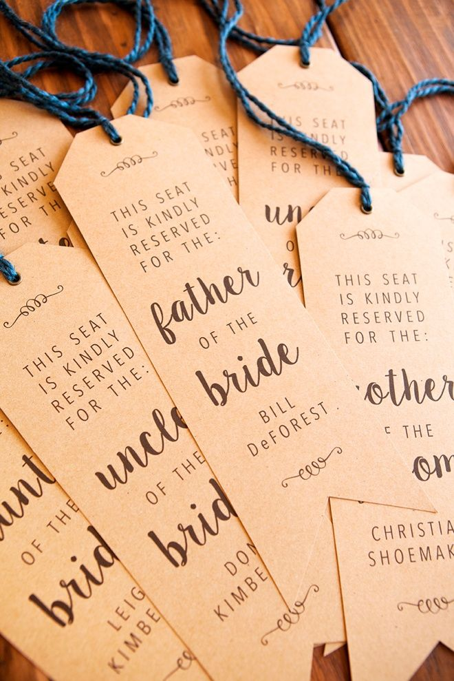 """Make Your Own Wedding Ceremony Chair """"Reserved"""" Signs!"""