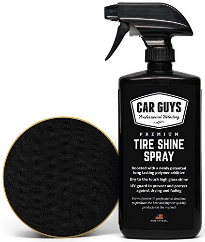 Tire Shine Spray - Best Tire Dressing Car Care Kit for Car Tires after a Car Wash - Car Detailing Kit for Wheels and Tires with included Tire Shine Applicator - by Car Guys Auto Detailing Supplies. For product info go to:  https://www.caraccessoriesonlinemarket.com/tire-shine-spray-best-tire-dressing-car-care-kit-for-car-tires-after-a-car-wash-car-detailing-kit-for-wheels-and-tires-with-included-tire-shine-applicator-by-car-guys-auto-detailing-supplies/