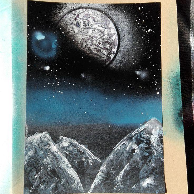 galaxy study with spray paint #galaxy #art #galaxie #planet #moon #space #fantasy #surrealism #nightsky #painting #stars #malerei