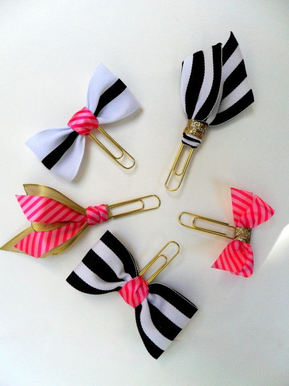 gold paper clips gold planner supplies bow by DownSouthChicDecor