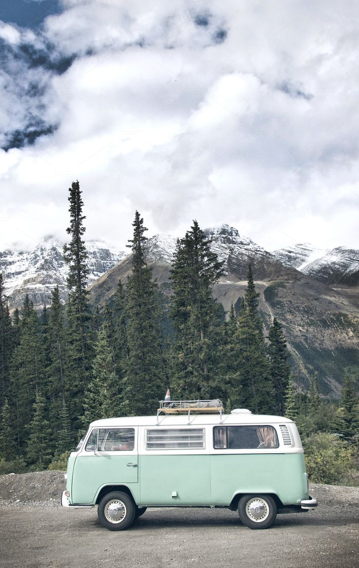 VW Bus in the mountains of Alberta #roadtrip #canada