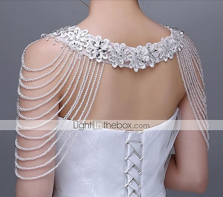 Honorable Ivory Lace Wedding Wraps with Crystals Stone with Rhinestones 2015 – $129.99