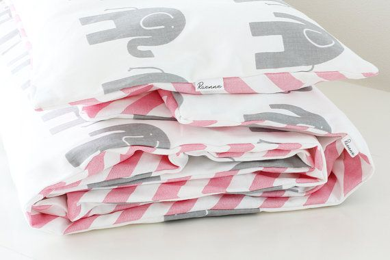 Baby Bedding  Baby Pink Chevron and Grey Elephants on by raenne, $125.00