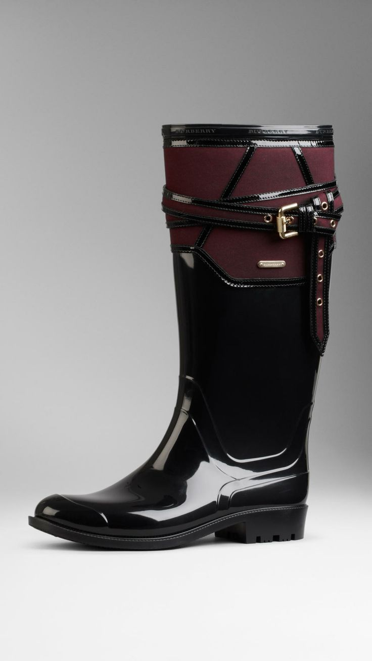 Belted Gabardine Detail Rain Boots | Burberry