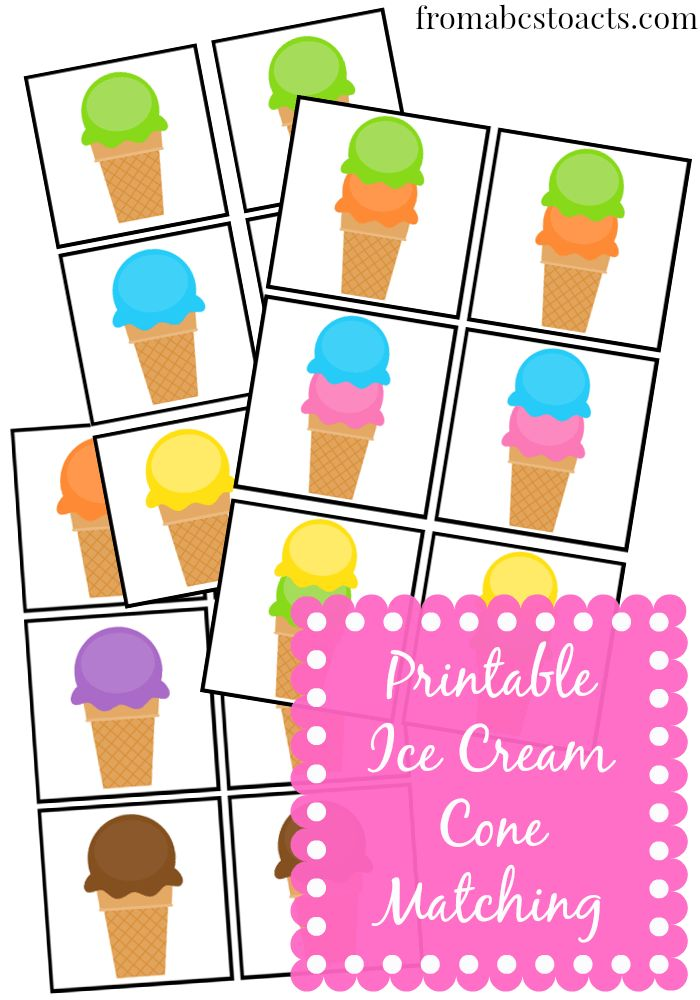 Free printable ice cream matching game for kids.