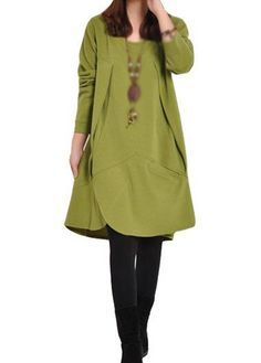 Olive Green Long Sleeve Loose Tunic Dress