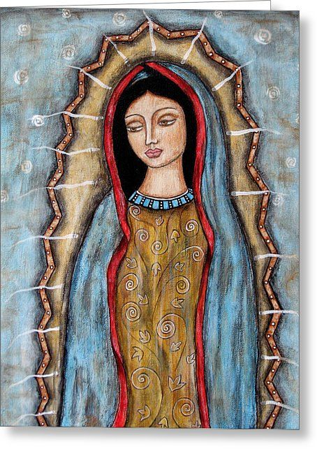 Virgen De Guadalupe Greeting Card by Rain Ririn