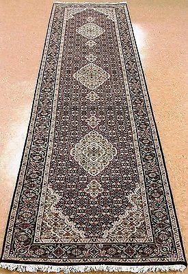 """2'9"""" x 12'1"""" TABRIZ Hand Knotted Wool Silk BLACK NEW FINE Oriental Rug RUNNER"""