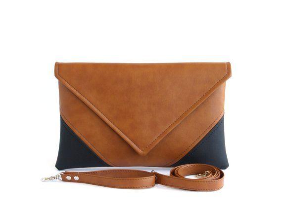 d70b05b46668 Gift For Her Brown Clutch Bag Black Clutch Purse Vegan Leather Clutch  Wristlet Crossbody Purse Strap