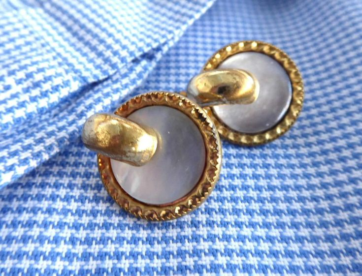 Edwardian Mother Of Pearl Cuff Links Gold Filled Trombone Backs Shirt Studs 1900 French Cuff Links http://etsy.me/2Dcl6Df #accessories #cufflinks #gold #white #unisexadults #edwardian #anniversary #elegant #GotVintage #EtsySellsVintage
