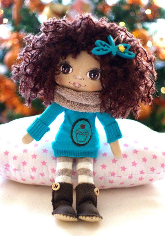 Cloth doll Dress up rag doll for kids Handmade fabric by KatkaCrea
