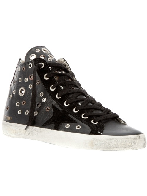 Black leather trainers from Golden Goose featuring a round closed toe, a white sole, front lace fastenings, a zip fastening on side and silver-tone hardware.