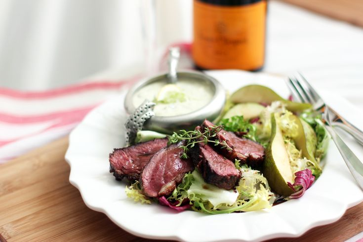 Herbed Magret de Canard Salad with Pears and Roquefort Dressing | My inspiration for this recipe comes from the French.  I've had it many times in homes, restaurants, and it's always good.  The roquefort dressing is my own innovation because I like it so much! | From: cookinginsens.wordpress.com