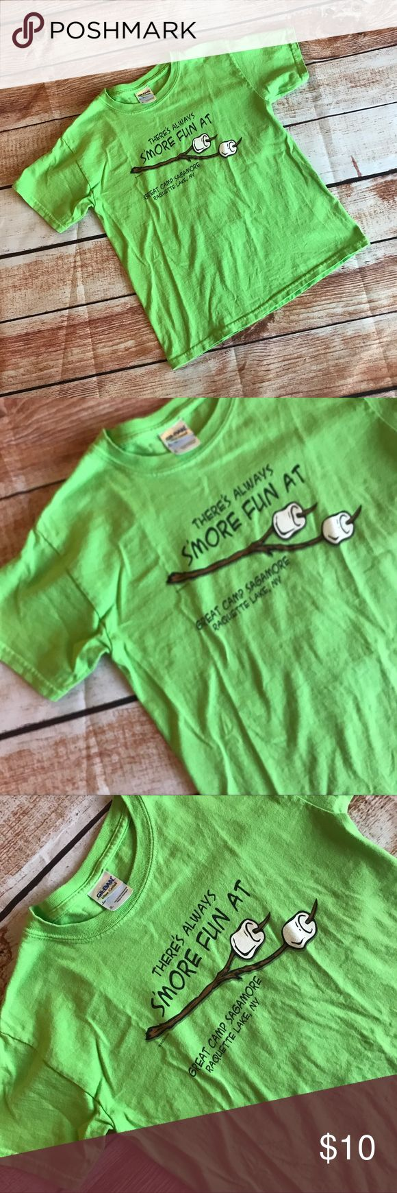 "▪️v i n t a g e : [youth] camp sagamore t-shirt v i n t a g e : bright green childs Camp Sagamore graphic tshirt. ""There's always s'more fun at great camp Sagamore lake, raquette lake, ny."" Very good condition. Maybe a slight fade from normal wash but pretty good for being a child tee (can also fit an adult ladies xsmall/small I am sure.. it fit me!). Size: youth small.   ——- #bogo #freeship #sale #clearance #gift #present #Vintage #vtg #retro #bright #neon #green #camp #sagamore…"