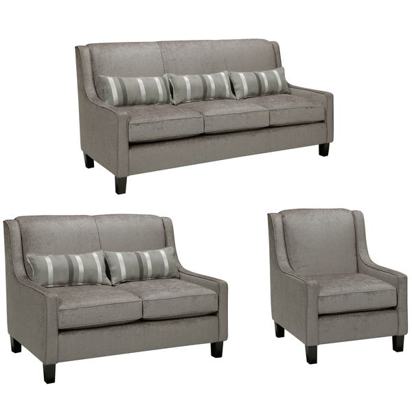 Ramone Silver Sofa, Loveseat And Chair   Overstock Shopping   Great Deals  On Sofas