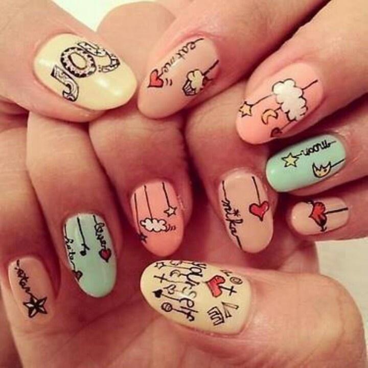 pastel cartoon nail art !! :) want them ! - 34 Best Cartoon Nail Art Images On Pinterest Cute Nails, Finger