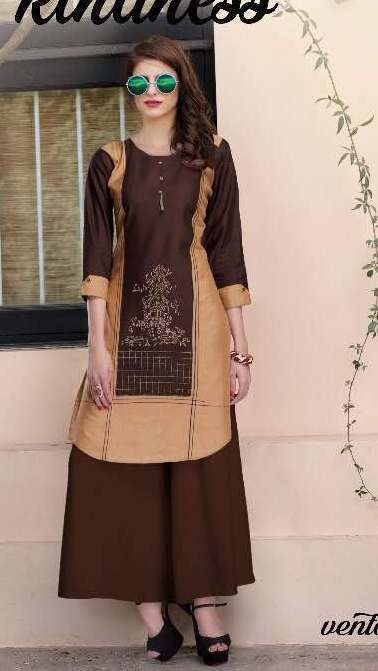 SM Creation Kaya's Vento Cotton Linen Kurtis ( 12 PC Catalog )