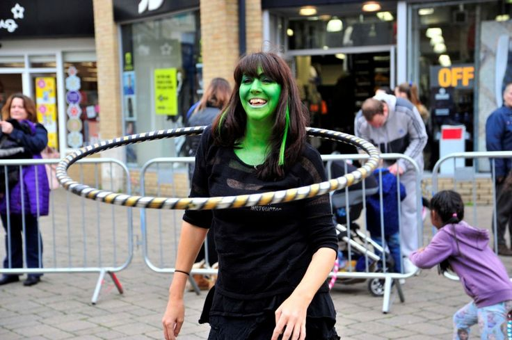 Freaky Friday in Weymouth town centre on 30th October 2015.   Hula Hooping workshop in New Bond Street.  Picture: Graham Hunt.