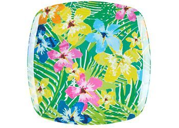 Dinnerware piece that is perfect for everyday use or for entertaining guests. This 10.5 in. x 0.8 in. dinner plate is ideal for indoor or outdoor use and features a tropical floral design. Top Rack Dishwasher Safe. Not recommended for use in microwave oven.