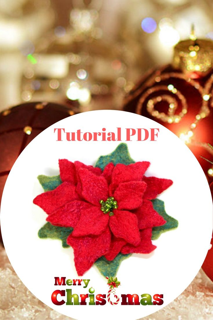 This tutorial will show you a successful way for a beginner to create a beautiful felted flower from merino wool and decorative fiber (viscose or silk). Making felt flower is a great way to start learning the basics of turning wool fibers into felt.This 23-page instructional eBook, packed with over 49 color photographs, takes you by the hand and leads you through the creative process of wet felting a flower Poinsettia.