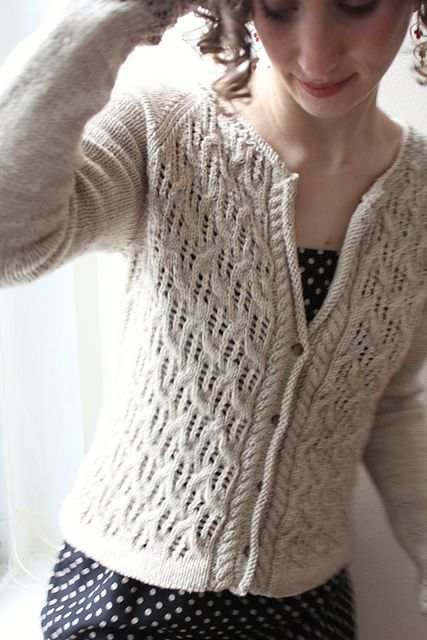 Baileys Irish Cream pattern by Thea Colman- the cable button edge and lace on the sleeves-Yay!
