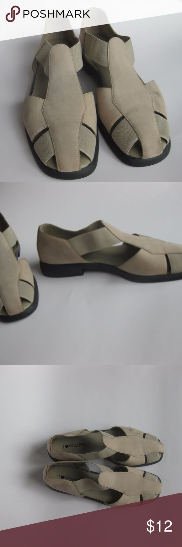 Vintage 90s beige tan brown cage strap sandals These adorable 90s sandals from Sears were a part of every mom's closet in the second half of the 90s. This particular pair is a beige/tan/light brown color. Feels like suede, very soft. straps near the toes and ankles are stretchy for fit. Barely worn as they are a little snug on me. Only flaw is a black mark on the shoe that should come out with a proper cleaning (see fifth picture). I Love Comfort Shoes Sandals