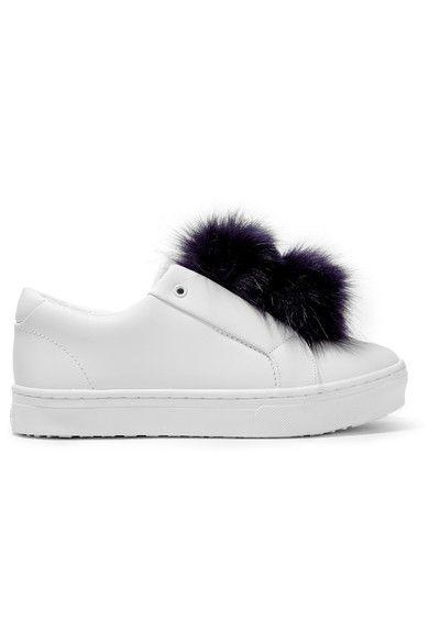 Sam Edelman - Leya Faux Fur-trimmed Leather Slip-on Sneakers - White