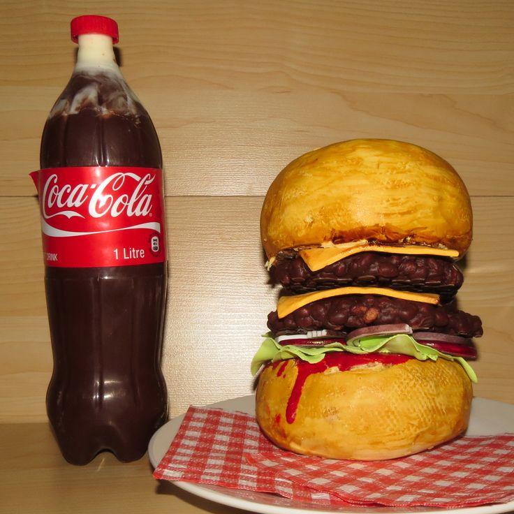 Burger and Coke Cake
