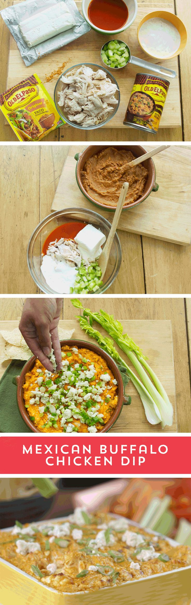 Win over your game day crowd with a flavorful take on an old favorite! This Mexican Buffalo Chicken Dip combines everything you love about buffalo chicken with a tasty Mexican twist! Mix Old El Paso™ Refried Beans and Taco Seasoning until well blended. Then, combine buffalo sauce, chicken, cream cheese, celery and blue cheese dressing, and layer it over the beans mixture. Bake for 35 minutes, and top it off with your favorite garnishes!