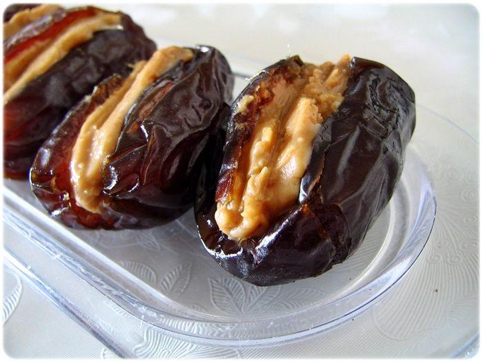 Peanut Butter Stuffed Dates. ----- i tried this, verdict - YUM!!