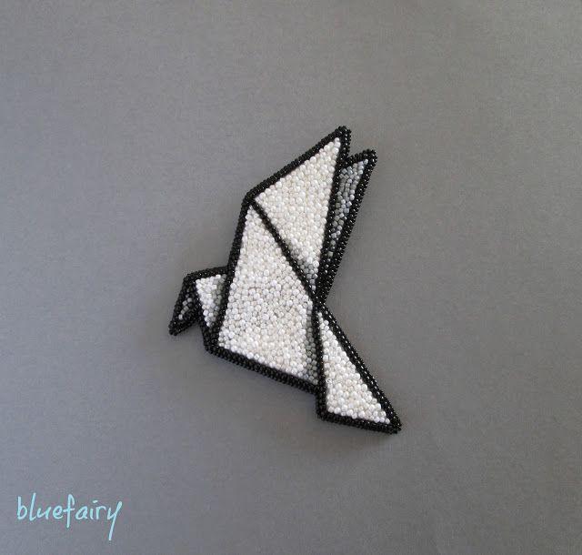 bluefairy art: Origami Dove II, broszka