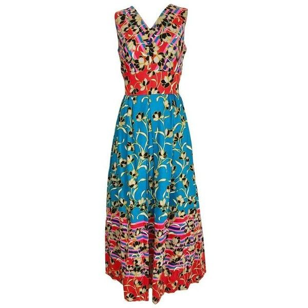 Preowned 1970s Teal And Red Floral Print Sleeveles Cotton Maxi Vintage... ($525) ❤ liked on Polyvore featuring dresses, casual dresses, red, summer maxi dresses, v-neck maxi dresses, cotton maxi dress, red summer dress and teal maxi dress